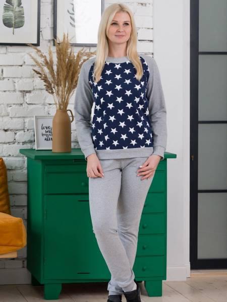 Костюм «Серый меланж со звездами» для кормящих мам и беременных