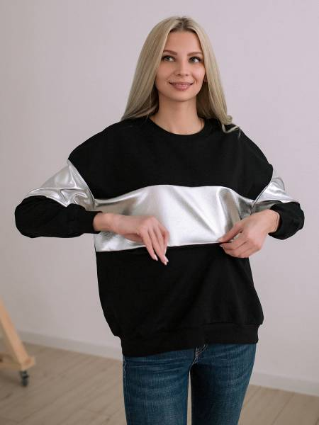 Свитшот «Белла» черный для кормящих мам и беременных