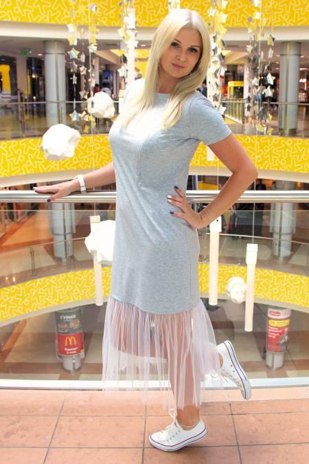 Платье с фатином «Серое» для кормящих мам и беременных