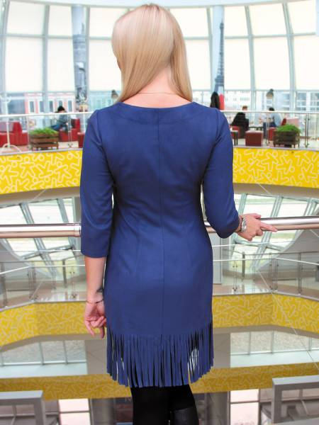 Платье из замши с бахромой для кормящих мам и беременных