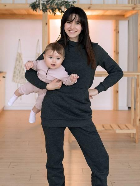 Утепленное худи с капюшоном для кормящих мам и беременных