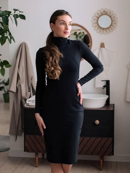 Платье-водолазка «Темно-синее» для кормящих мам и беременных