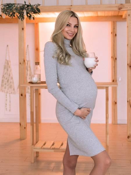 Платье-водолазка «Серое» для кормящих мам и беременных
