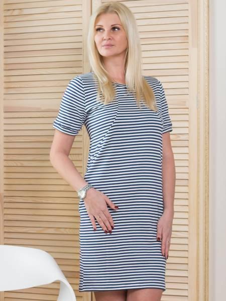 Платье «Тельняшка» в синюю полоску для кормящих мам и беременных