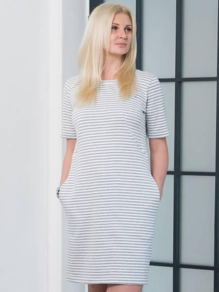 Платье «Тельняшка» в серую полоску для кормящих мам и беременных