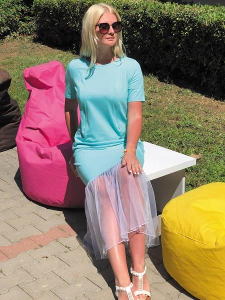 Платье с фатином «Мятное» для кормящих мам и беременных