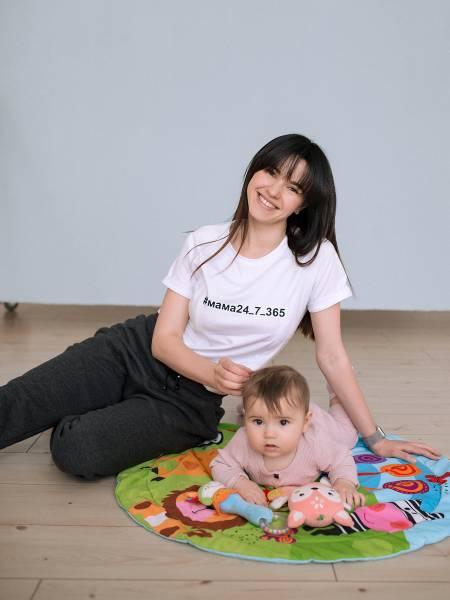 Футболка белая #мама24_7_365 для кормящих мам и беременных
