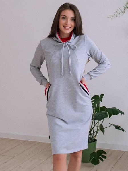 Платье «Бритни» серое для кормящих мам и беременных