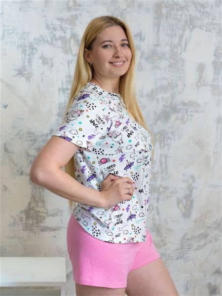 Пижама с космическими ламами для кормящих мам и беременных